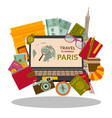 travel planning to paris flat concept vector image