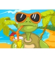 Funny Turtle Drinking Cocktail vector image vector image