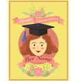 Happy Graduation Girl Yellow Greeting Card vector image