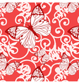 seamless background with swirls and butterflies vector image