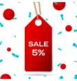 red pennant with an inscription big sale five vector image