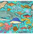 Sea and river animals pattern vector image