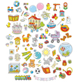Toys animals and books vector image