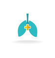 Lungs medical logo with rounded cross vector image