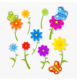 Abstract Colorful Flowers and Butterflies Isolated vector image