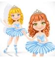 Beautiful little ballerina girl in tiara and blue vector image