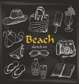 collection of summer elements in sketch style on vector image