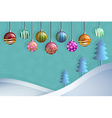 Greeting card of hanging christmast ball and pine vector image