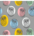 Seamless pattern with cute colorful owls vector image