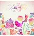 Watercolor floral greeting card with Summer vector image