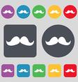 Retro moustache icon sign A set of 12 colored vector image