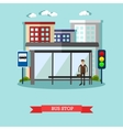 Man waiting for a public transport at bus stop vector image