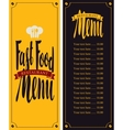 menu for fast food restaurant vector image