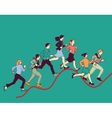 Business people run graph curves red line vector image