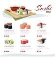 Sushi rolls flat food Asia cuisine menu vector image