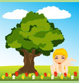 girl on glade vector image