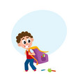 little boy kid going to school with big schoolbag vector image