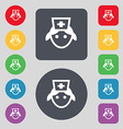 nurse icon sign A set of 12 colored buttons Flat vector image