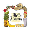 square frame of summertime vacation attributes vector image