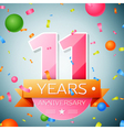 Eleven years anniversary celebration background vector image