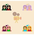 Collection in flat style girls vector image