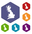 Map of Great Britain icons set vector image