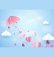 paper art fly umbrella hanging string with hearts vector image