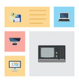 flat icon computer set of pc notebook vintage vector image