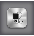 MP3 player icon - metal app button vector image vector image