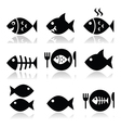 Fish fish on plate skeleton vecotor icons vector image