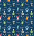 Cartoon robots blue seamless pattern vector image