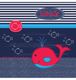Cute baby background with whale vector image