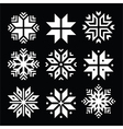 Snowflakes Christmas white icons set vector image