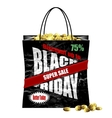 Black Friday paper shopping bag vector image