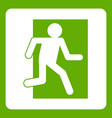 fire exit sign icon green vector image