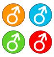 Gender male symbol buttons set vector image