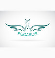 horse pegasus design on white background wild vector image