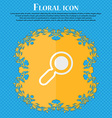 magnifying glass zoom Floral flat design on a blue vector image