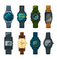 set of different hand watch for male and female vector image