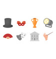 theatrical art icons in set collection for design vector image
