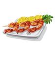 grilled shrimps on skewer vector image vector image
