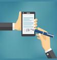 Businessman hands signing digital signature vector image