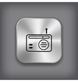 Radio icon - metal app button vector image vector image