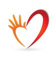 Hand heart shape logo vector image vector image