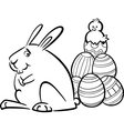 easter bunny and eggs coloring page vector image