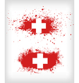 Grunge ink splattered flag of Switzerland vector image vector image
