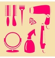 Hair accessories and barber tools color icons vector image