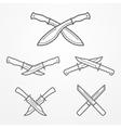 Hunter crossed knife logo vector image vector image