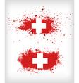 Grunge ink splattered flag of Switzerland vector image