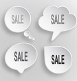 Sale White flat buttons on gray background vector image